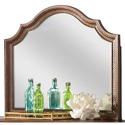 Riverside Furniture Windward Bay Arch Landscape Mirror w/ Rattan
