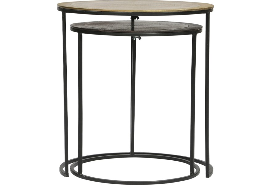 Riverside Furniture Yasmine Industrial 2 Piece Nesting Side Table With Mixed Metal Lindy S Furniture Company End Tables