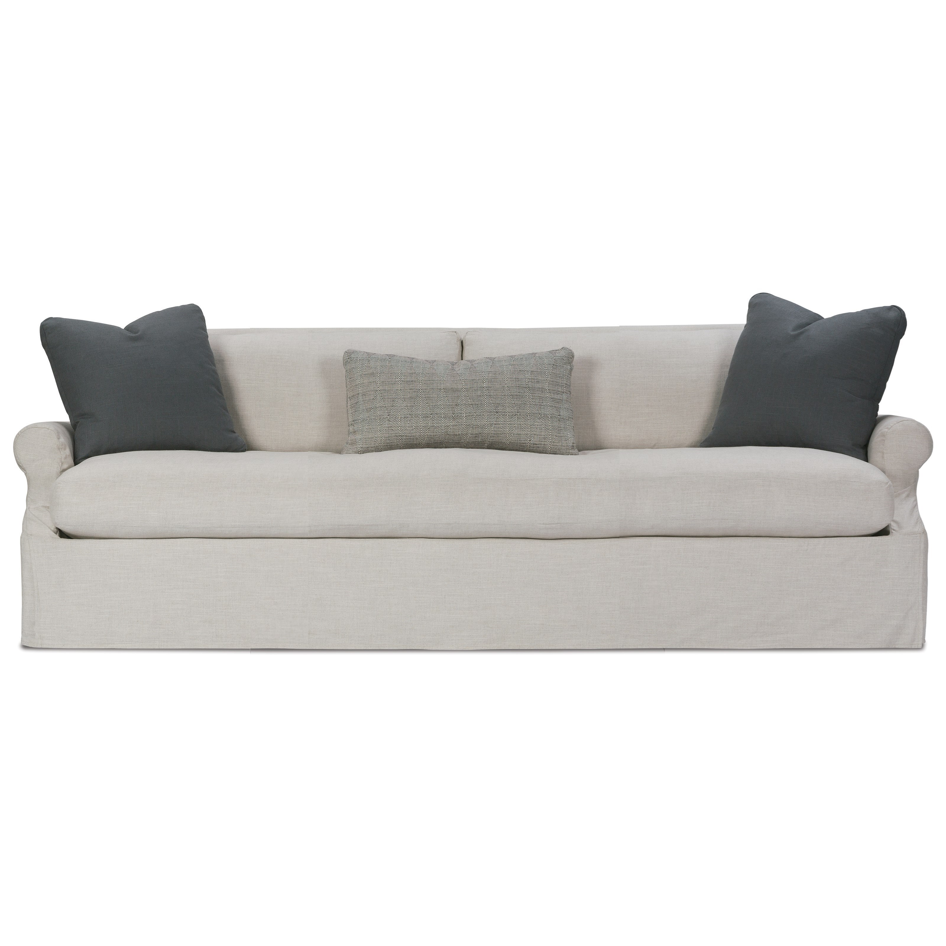 RB by Rowe Bristol Contemporary 85'' Sofa with Slip Cover and Bench Cushion - Belfort Furniture ...