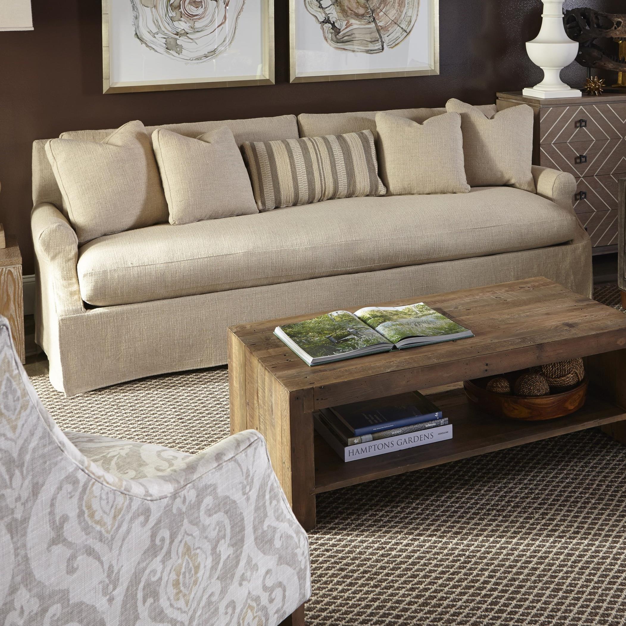 Wonderful Robin Bruce Bristol Contemporary Slipcovered Sofa With Bench Cushion
