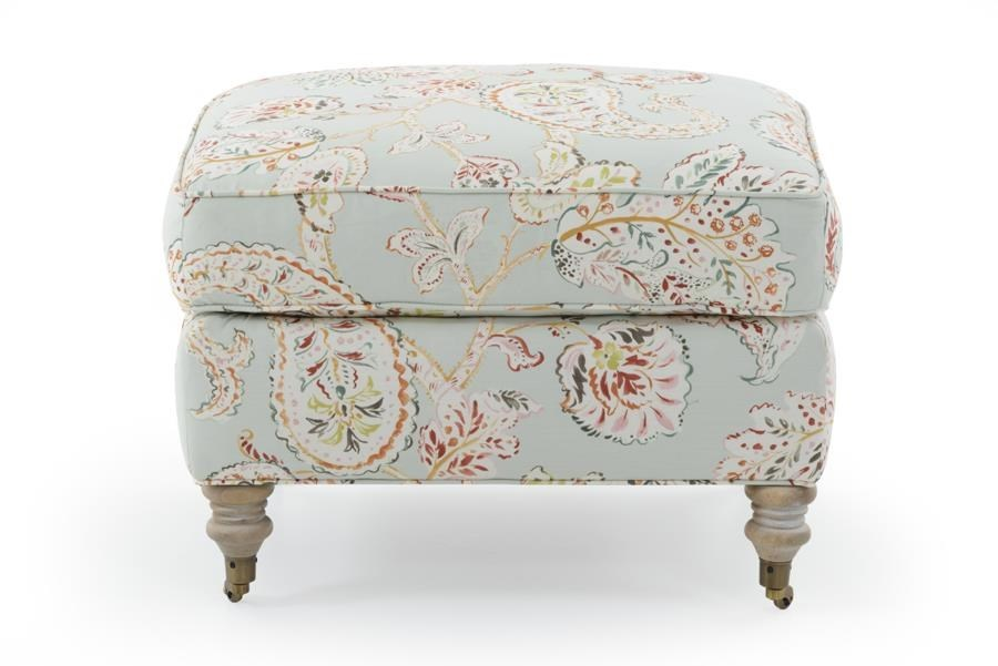 Ottoman with Castered Turned Feet