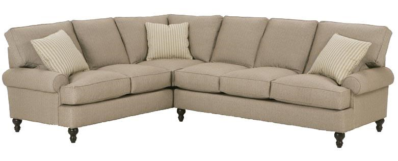 RB By Rowe Cindy Corner Sectional Sofa With Round Arms And Decorative Wood  Feet