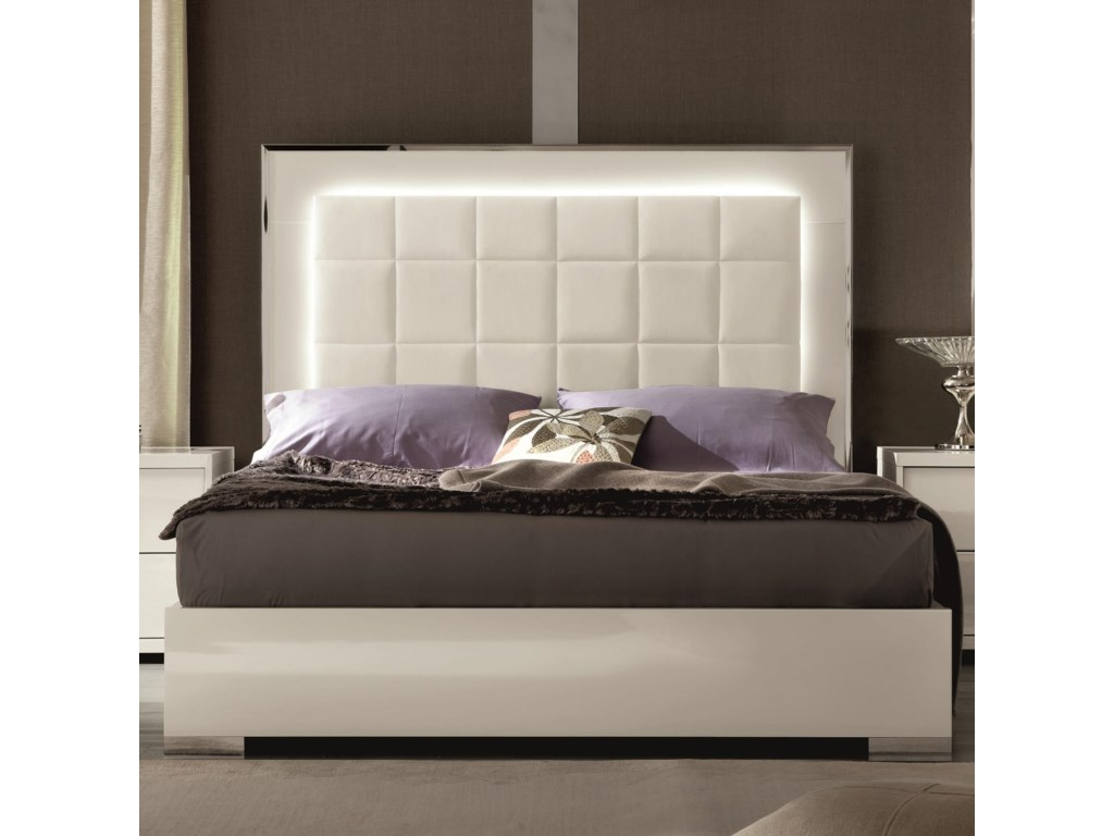 Alf Italia ImperiaQueen Upholstered Bed with LED Lights