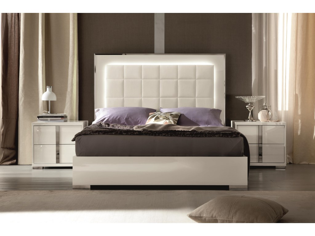 Alf Italia ImperiaKing Upholstered Bed with LED Lights