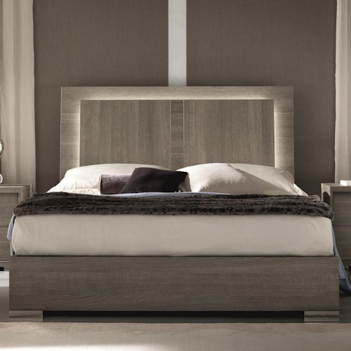Alf Italia Tivoli King Weathered Grey Bed With Built In Led Light