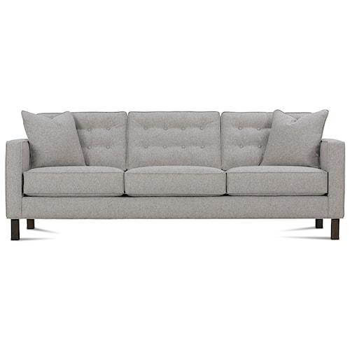 Rowe Abbott  Upholstered Three-Seat Sofa with Wood Legs