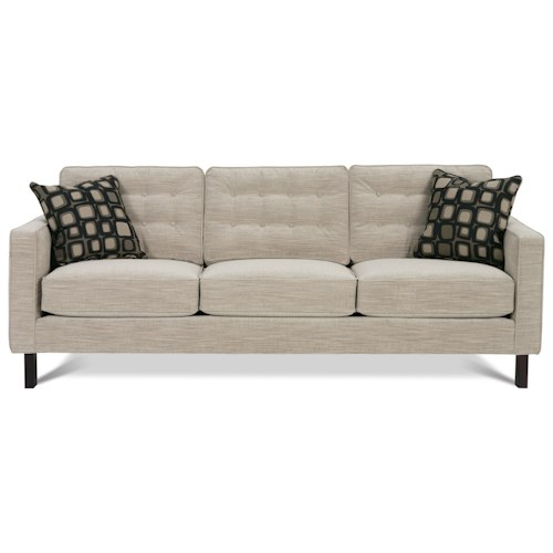 Rowe Abbott  Three Cushion Sofa with Wood Legs