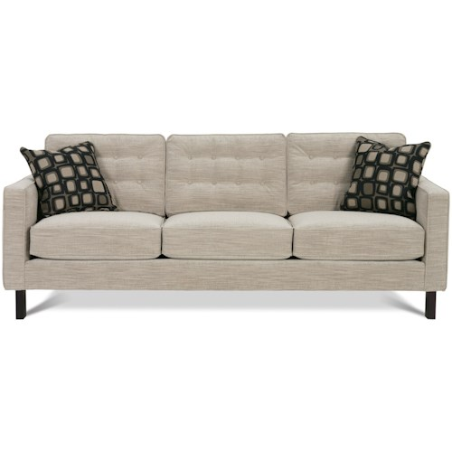 Rowe Abbott  Upholstered Three-Seat Sofa with Wood Legs