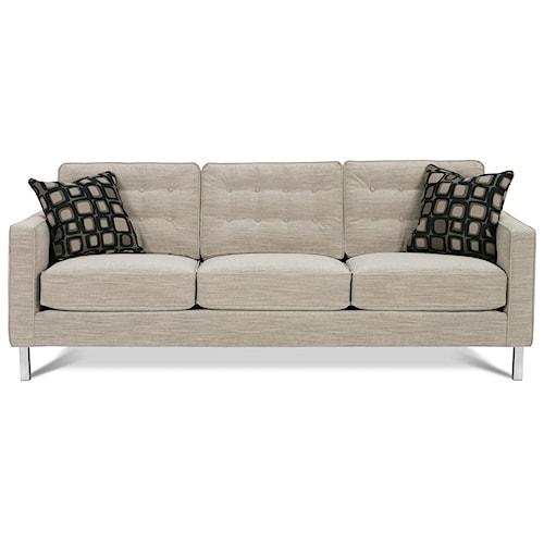 Rowe Abbott  Upholstered Three-Seat Sofa with Chrome Legs