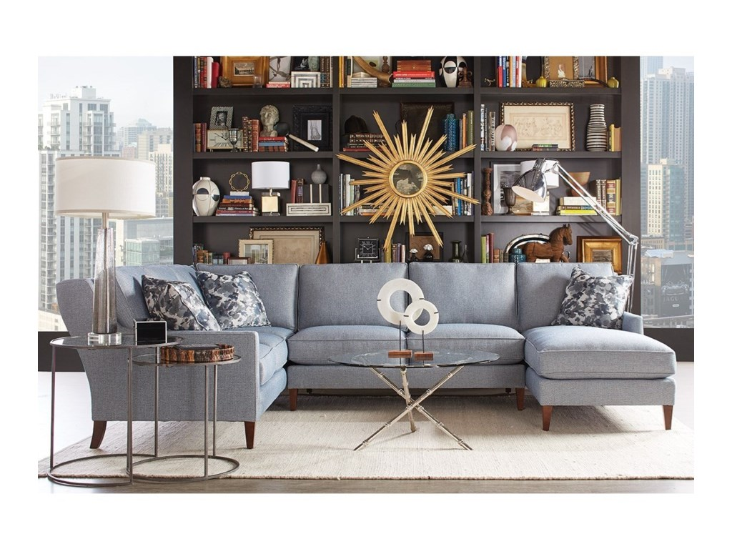 Rowe Andee Contemporary 5 Seat Sectional with Right Facing Chaise ...