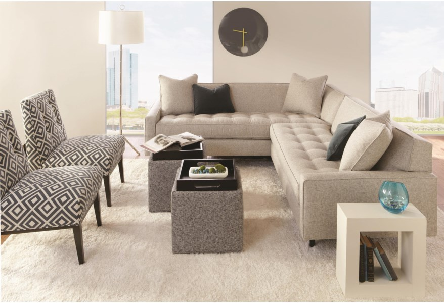 Contemporary Sectional Sofa with Track Arms