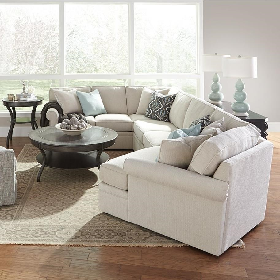Rowe Brentwood Transitional Cuddler Sectional Sofa With Rolled  ~ Sectional Sofa With Cuddler