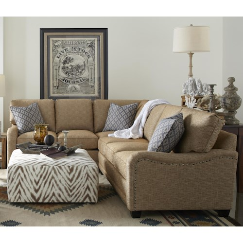 Rowe My Style Traditional Sectional Sofa with English Arms and Nailhead Trim