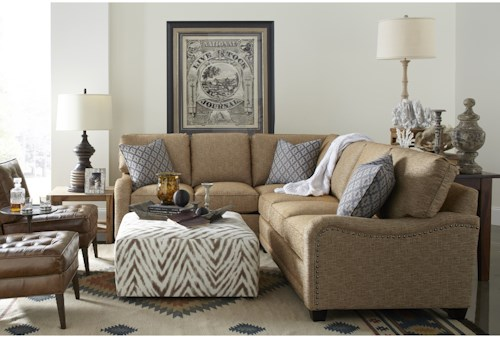 Rowe My Style I Customizable Sectional Sofa with English Arms, Tapered Legs and Knife Style Cushions