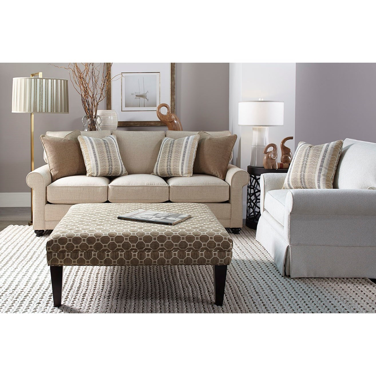 Transitional Stationary Sofa with Rolled Arms