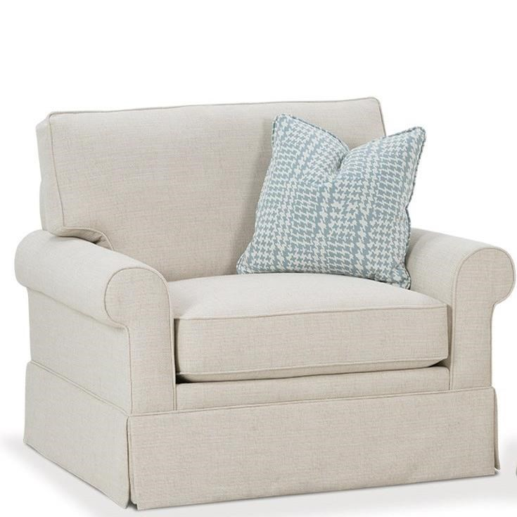 Customizable Chair and a Half with Rolled Arms, Skirted Base and Box Style Cushion