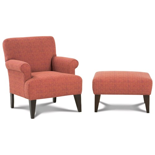Rowe Chairs and Accents Roma Contemporary Chair & Ottoman