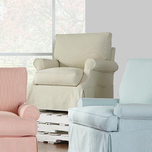 Bon Rowe Chairs And AccentsBeatrix Casual Slip Cover Swivel Glider