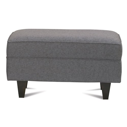 Rowe Dorset Ottoman with Exposed Wood Legs