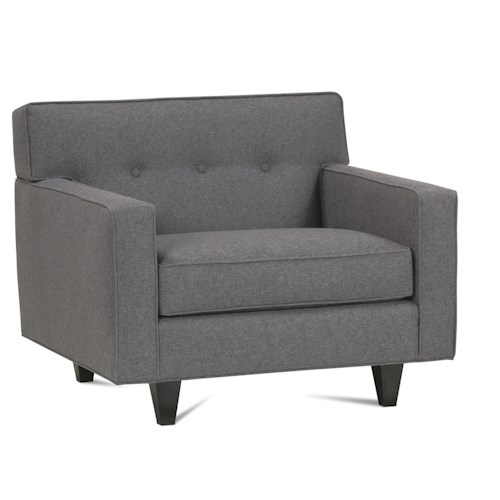 Rowe Dorset Upholstered Chair with Exposed Wood Feet & Button Tufted Back