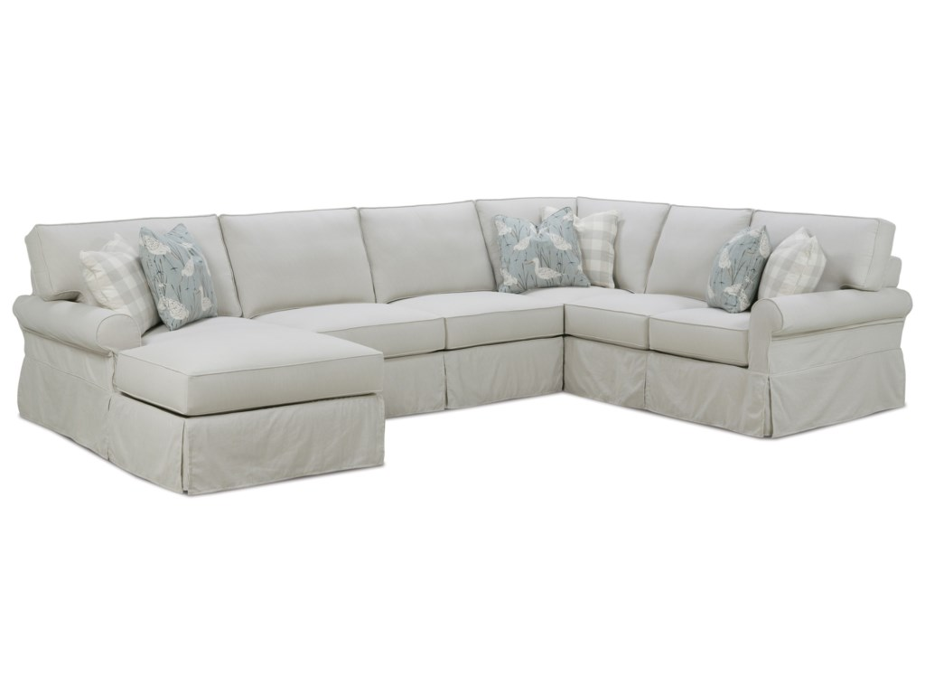 Rowe Easton Casual Sectional Sofa with Slipcover | Lindy\'s ...