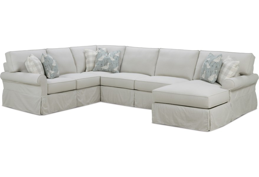 Rowe Easton Casual Sectional Sofa with Slipcover | Baer\'s ...