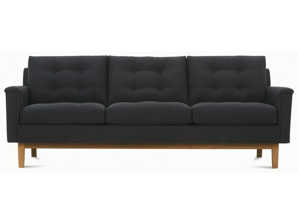 Rowe Ethan Mid-Century Modern Sofa with Tufted Back Pillows ...