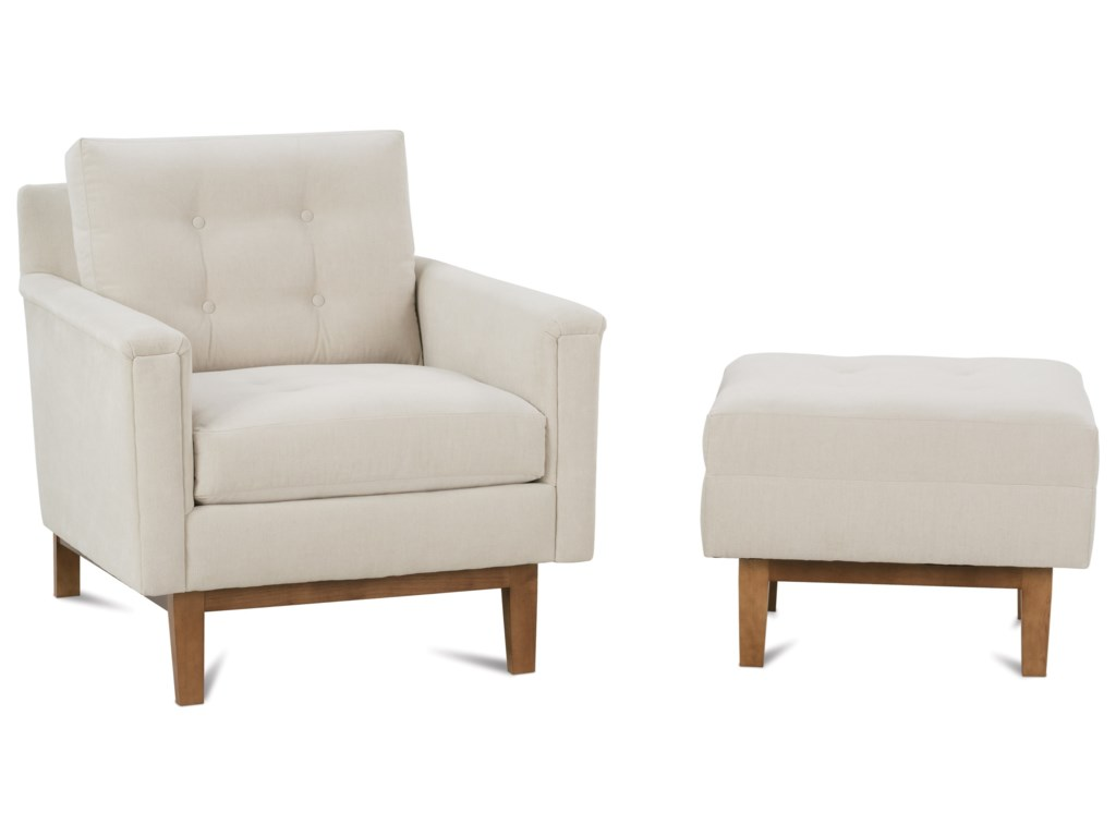 Rowe Ethan Mid Century Modern Chair And Ottoman Set Belfort