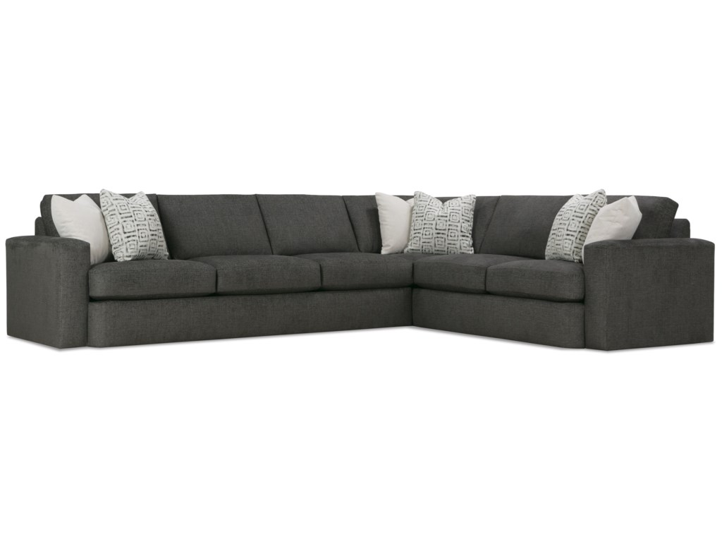 Rowe lauren contemporary 5 seat sectional with throw pillows