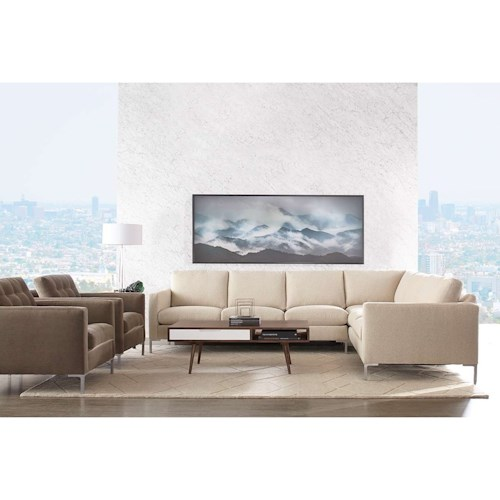 Rowe Modern Mix Contemporary Sectional Sofa With Chrome Legs
