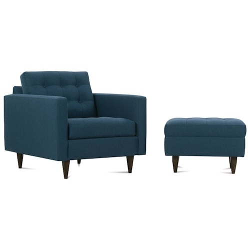 Rowe Modern Mix Contemporary Chair and Ottoman with Tapered Wood Feet