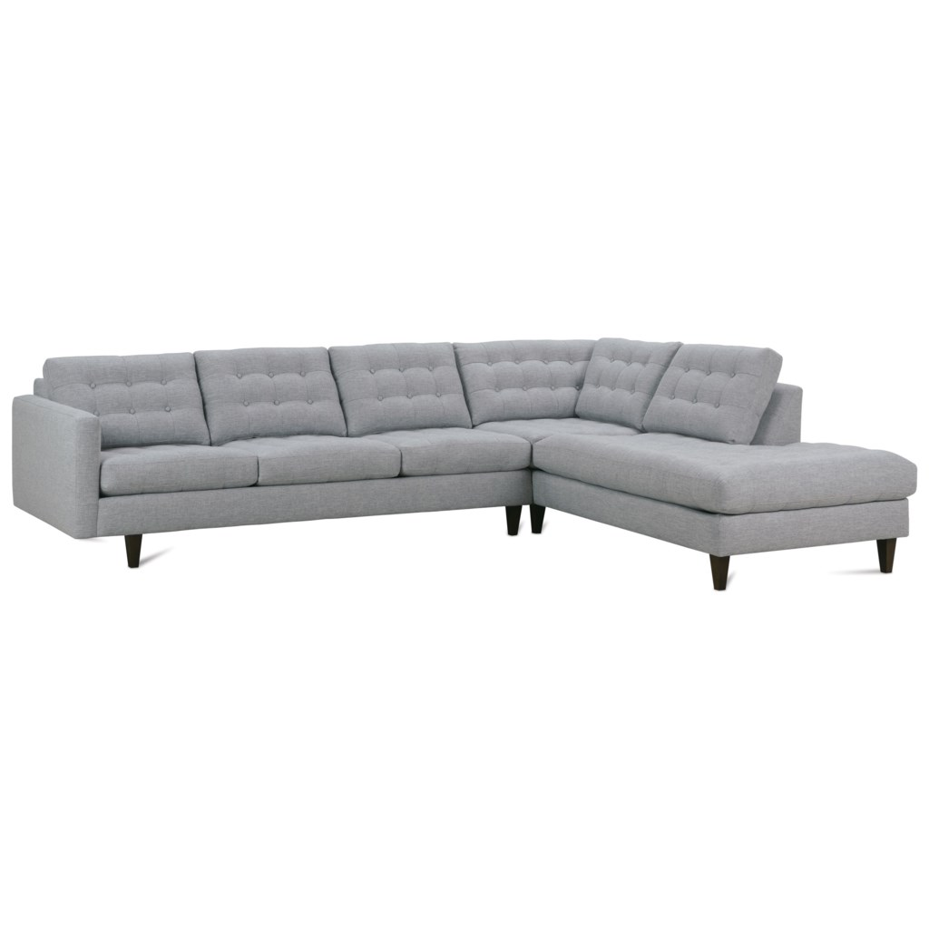 Rowe Modern Mix Contemporary Sectional Sofa With Chaise - Saugerties  Furniture Mart - Sectional Sofas
