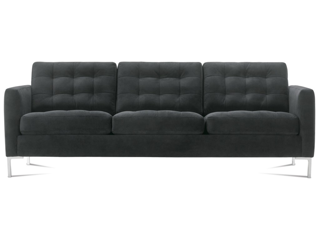 Rowe Modern Mix Contemporary Sofa With Chrome Legs