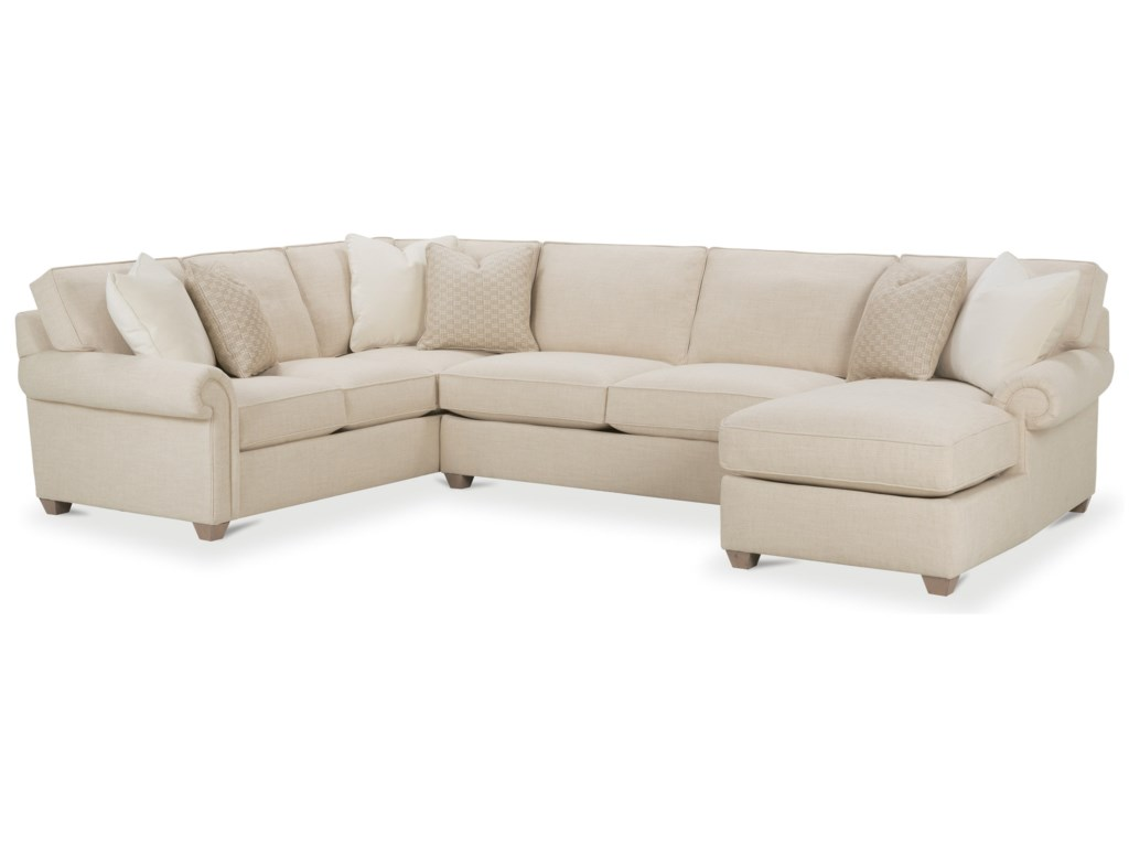 Rowe morgan traditional three piece sectional sofa with chaise