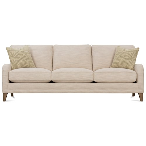 Rowe My Style II Customizable Sofa with English Arms, Shaped Legs and Knife Style Back Cushions