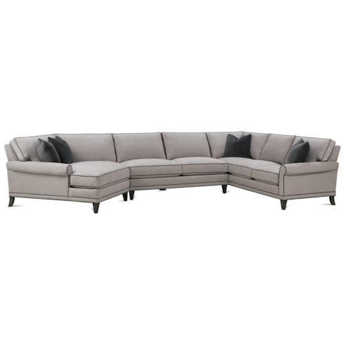 Rowe My Style II Customizable Sectional Sofa with Rolled Arms, Tapered Legs and Box Style Back Cushions
