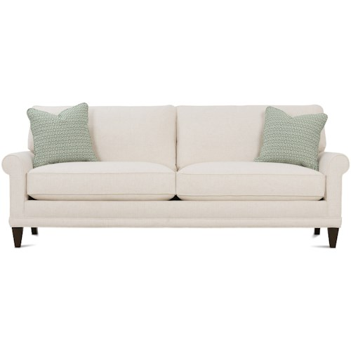 Rowe My Style Ii Customizable Sofa With Rolled Arms Tapered Legs And Knife Back Cushion