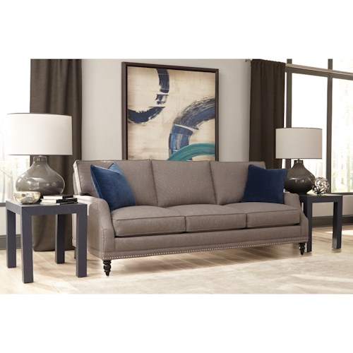 Rowe My Style I & II Transitional Sofa with Turned Legs and Scoop Arms
