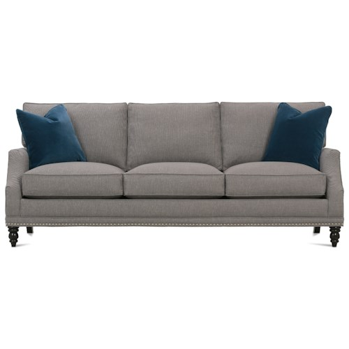 Rowe My Style II Customizable Sofa with Scooped Arms, Turned Legs and Box Style Back Cushions