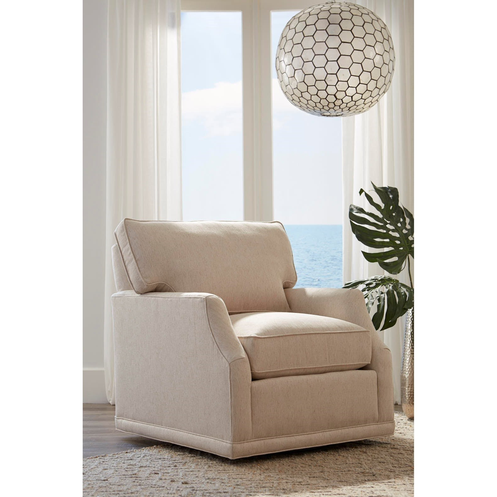 Rowe My Style II Customizable Chair With Scooped Arms, Swivel Base And Box  Edge Back
