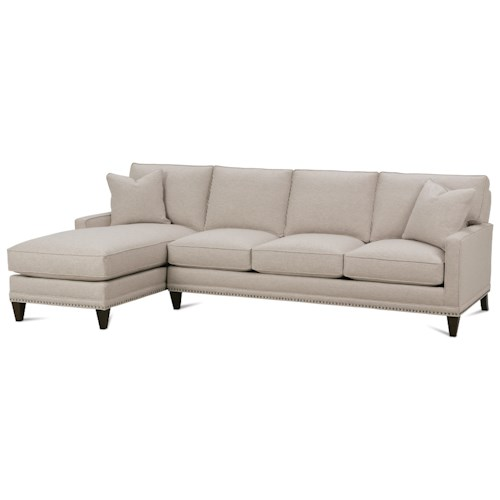 Rowe My Style II Customizable Left Chaise Sofa with Track Arms, Tapered Legs and Box Style Cushions