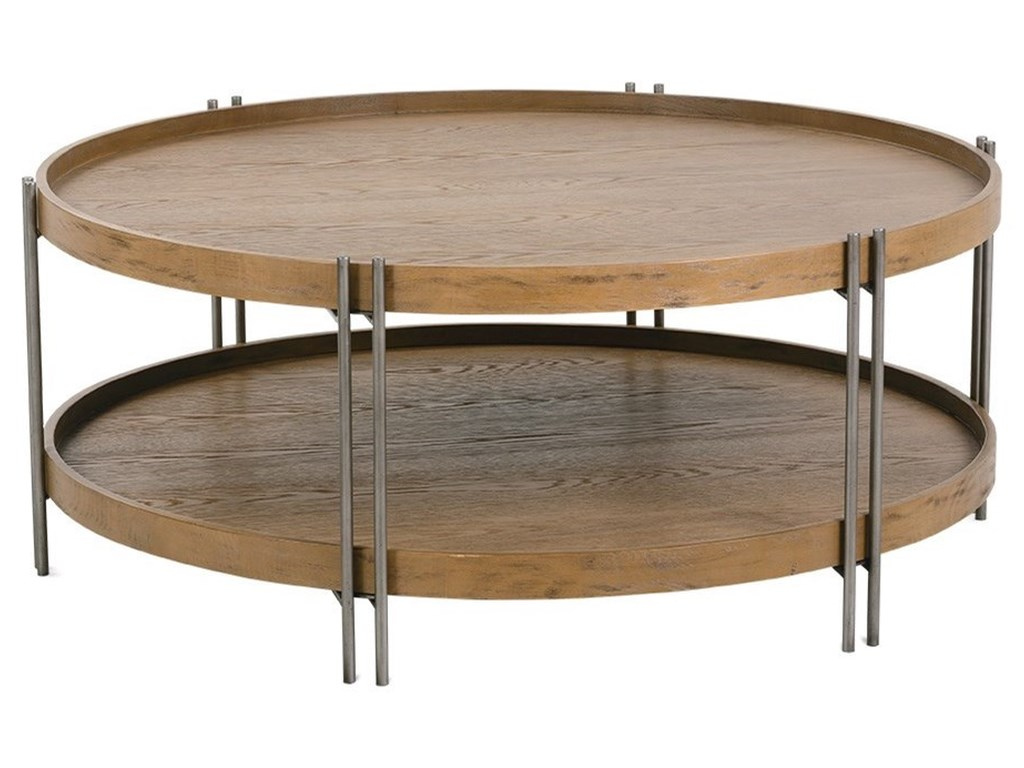 Rowe Nomad Woodmetal Round Cocktail Table With Shelf Lindys
