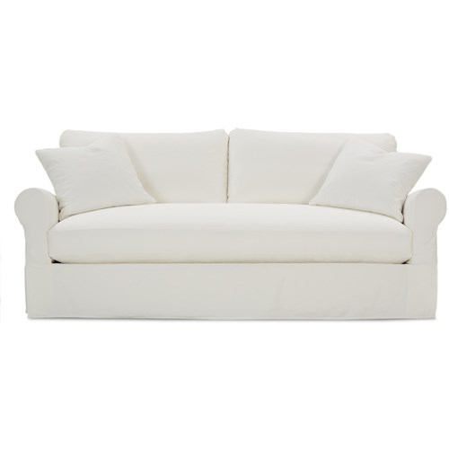 Rowe Aberdeen Transitional Sofa With Rolled Arms And Slipcover