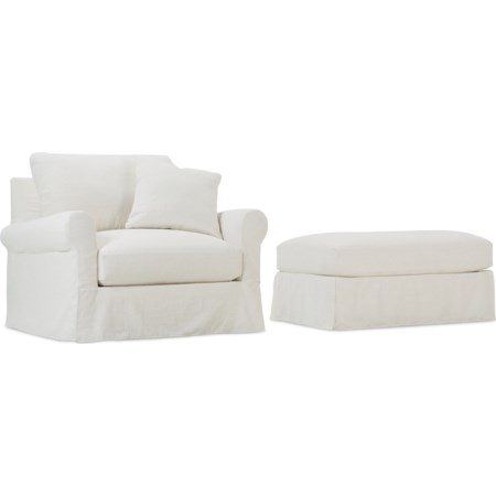 Slipcovered Chair and Ottoman