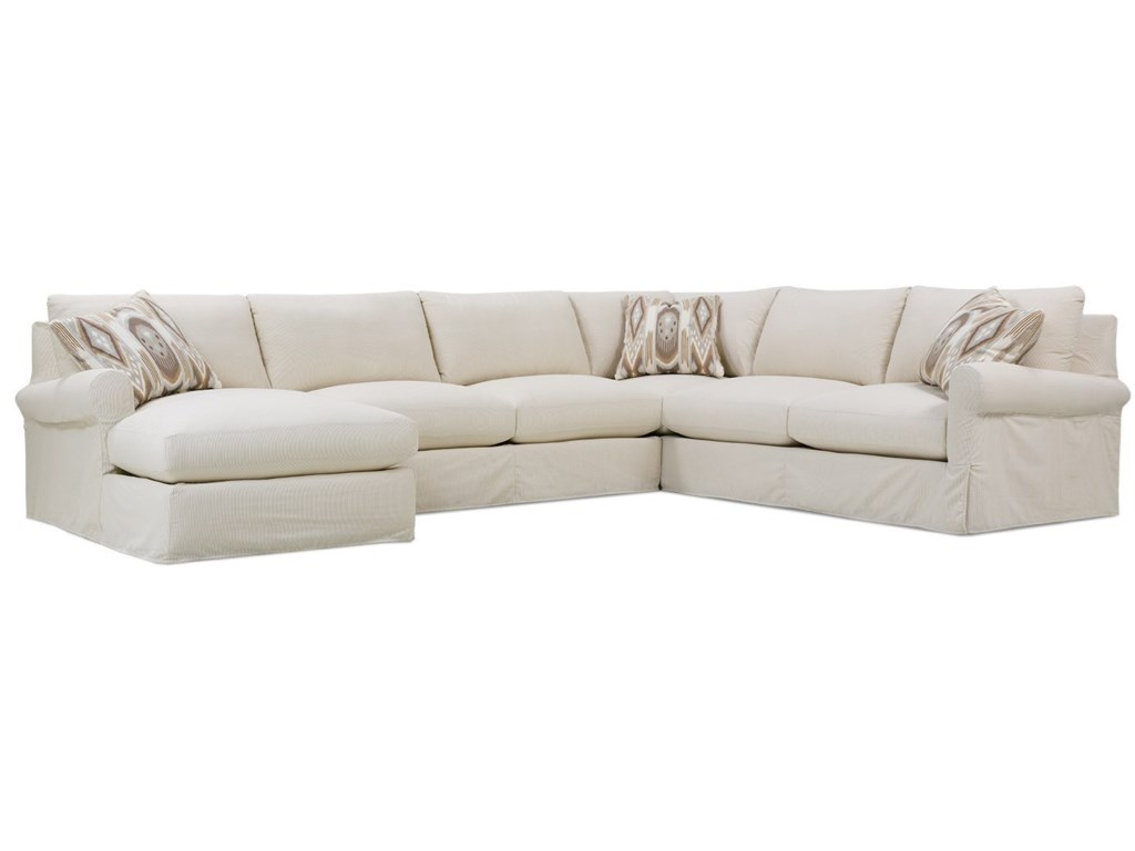 Rowe Aberdeen Transitional Sectional Sofa with Rolled Arms ...