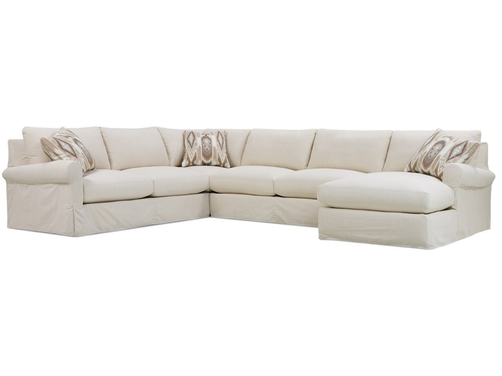 Rowe Aberdeen Transitional Sectional Sofa with Rolled Arms and ...