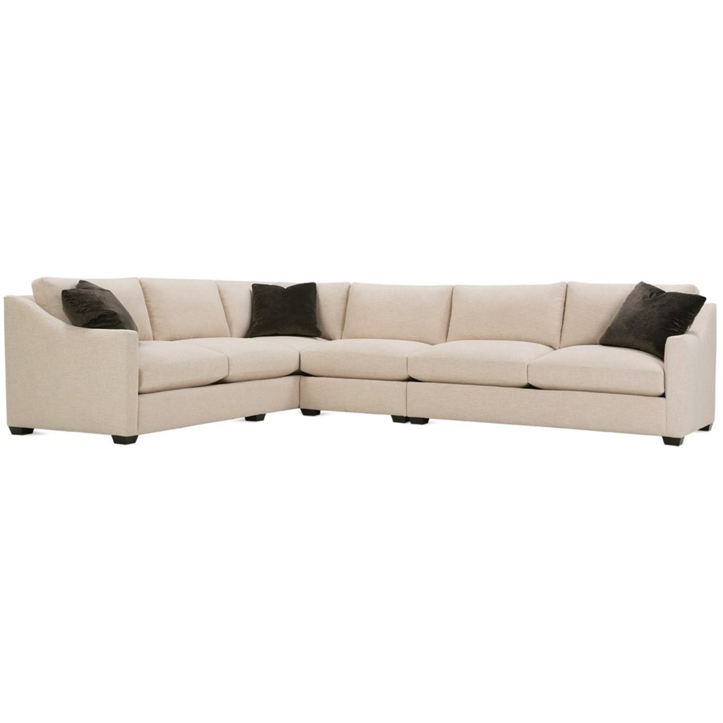 Rowe Bradford Transitional Sectional Sofa With Loose Back Pillows
