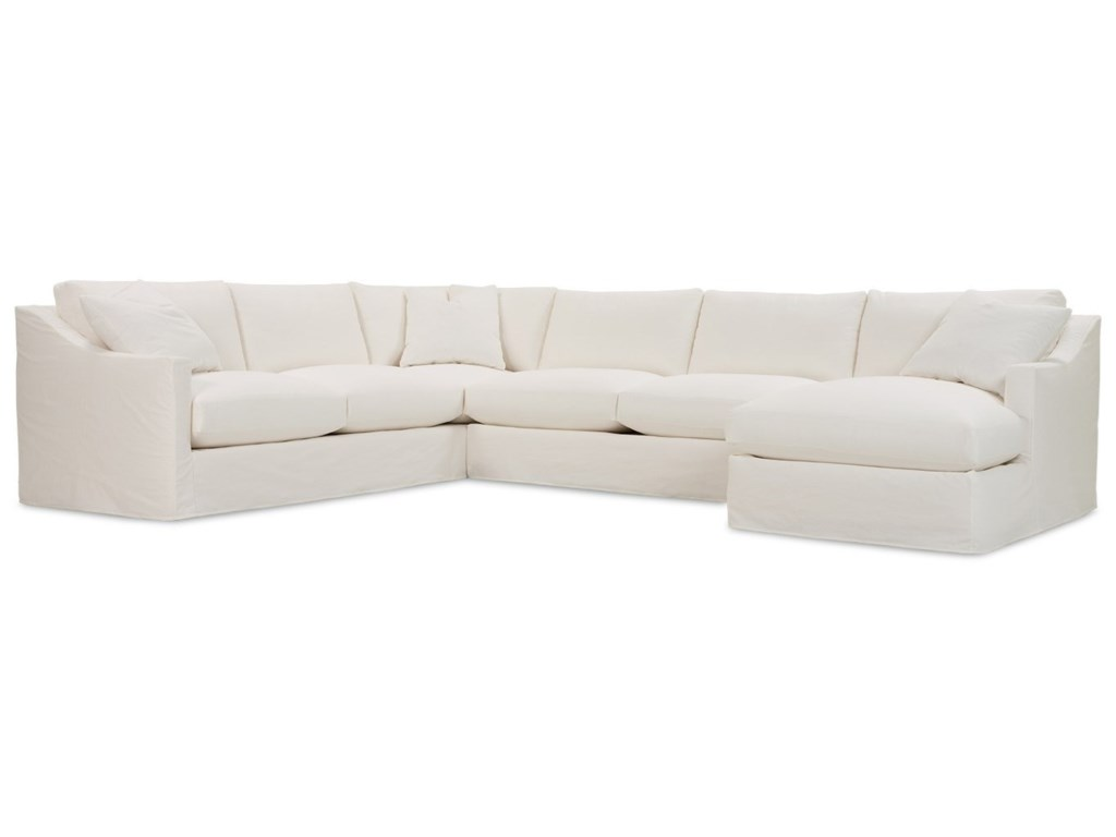 Rowe Bradford Transitional Sectional Sofa with Loose Back Pillows ...