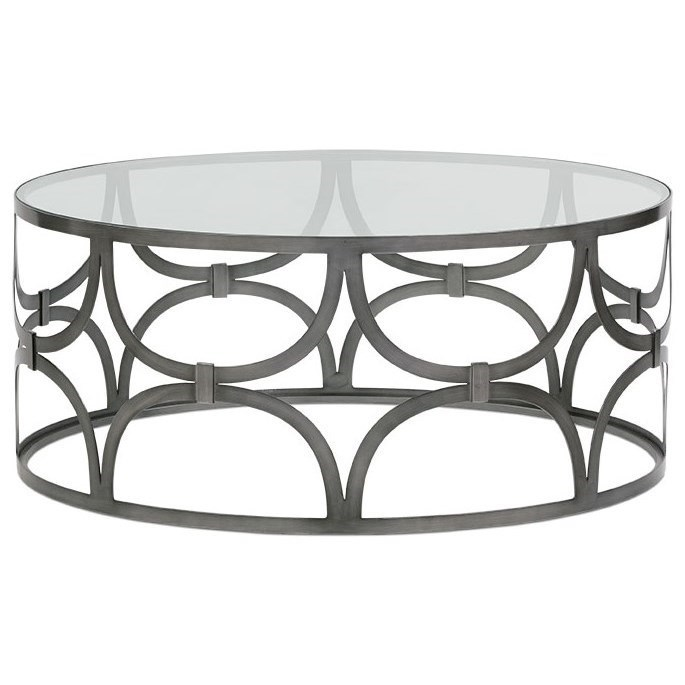 Metal Round Cocktail Table with Glass Top