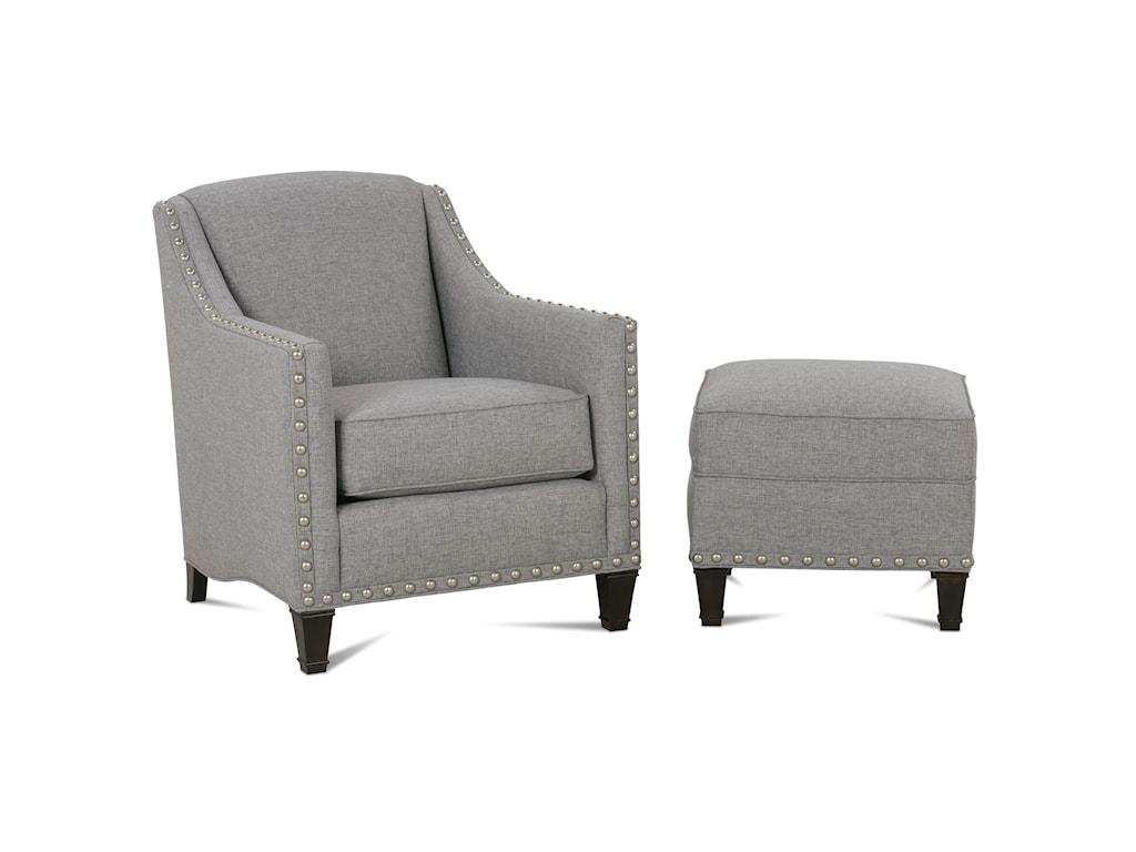 Rowe RockfordTraditional Upholstered Chair & Ottoman